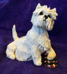 Eve Pearce Hand-Made Model - West Highland White Terrier Westie with Slipper * SALE *